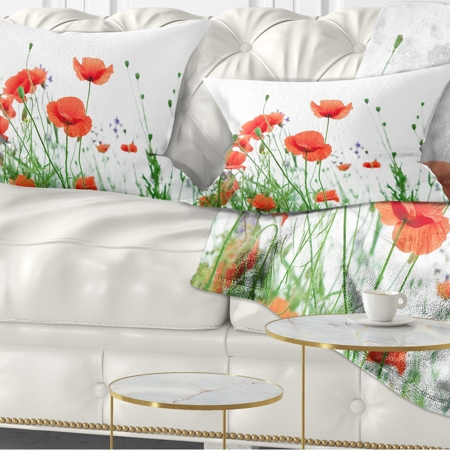 Designart Poppy Flowers On White Background Floral Throw Pillow On Sale Overstock 20950351