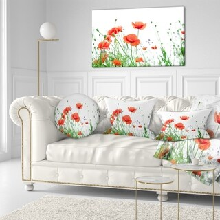 Designart 'Poppy Flowers on White Background' Floral Throw Pillow