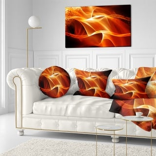 Designart 'Orange 3d Abstract Fractal Waves' Contemporary Abstract Throw Pillow