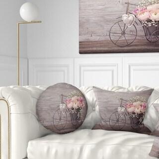 Designart 'Ranunculus Flowers in Bicycle Vase' Floral Throw Pillow