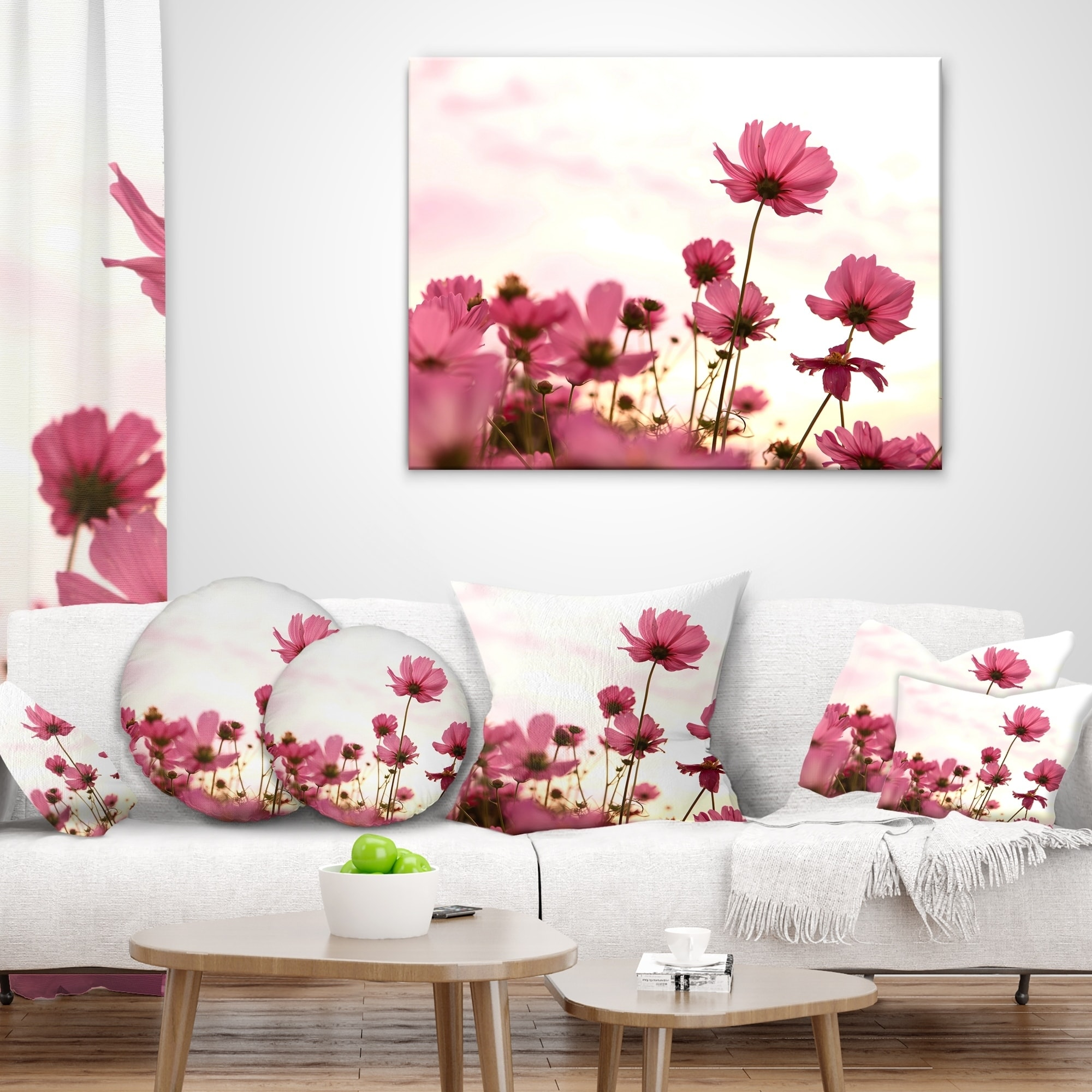 Designart CU13021-12-20 Cosmos Flowers Meadow at Sunset Floral Lumbar Cushion Cover for Living Room Sofa Throw Pillow 12 in x 20 in in