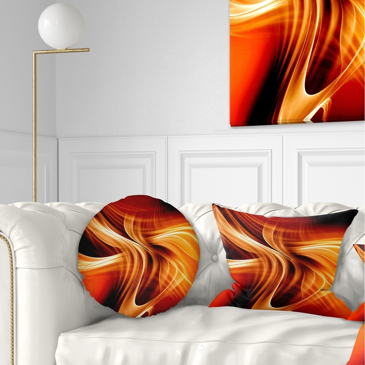 Designart Orange Abstract Warm Fractal Design Abstract Throw Pillow On Sale Overstock 20950396