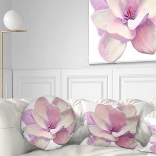 Designart 'Cute Light Pink Magnolia Flower' Flowers Throw Pillowwork