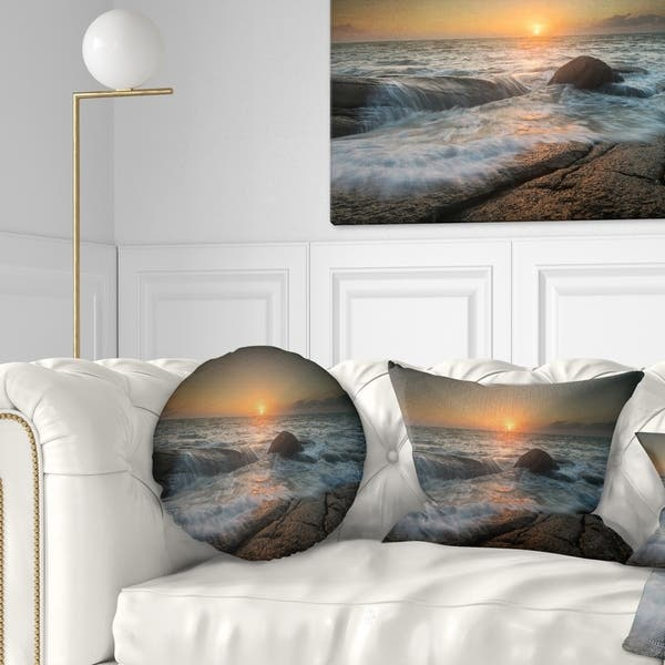 Designart Lashing Sea Waves At Sunset Beach Photo Throw Pillow On Sale Overstock 20950460