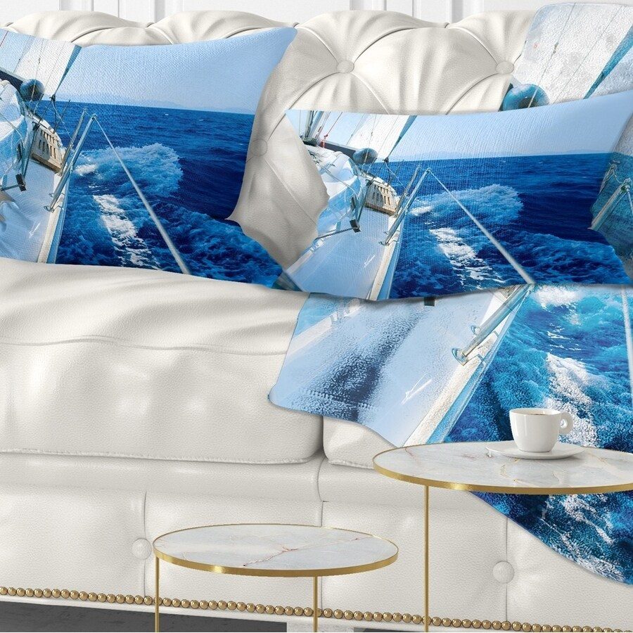Designart Tourism Yacht Sailing In Blue Sea Seashore Throw Pillow On Sale Overstock 20950495