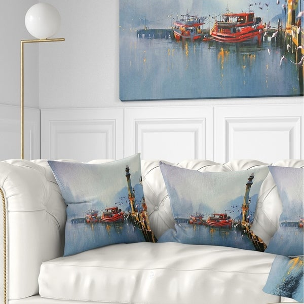 Designart 'Fishing Boats in Harbor' Landscape Painting Throw Pillow