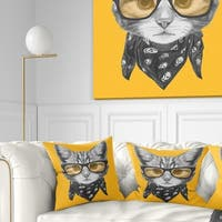 Designart 'Funny Cat with Glasses and Scarf' Animal Throw Pillow