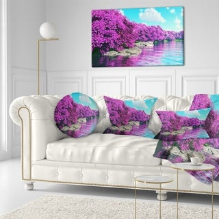 Designart 'Beautiful Row of Cherry Blossoms' Landscape Printed Throw Pillow
