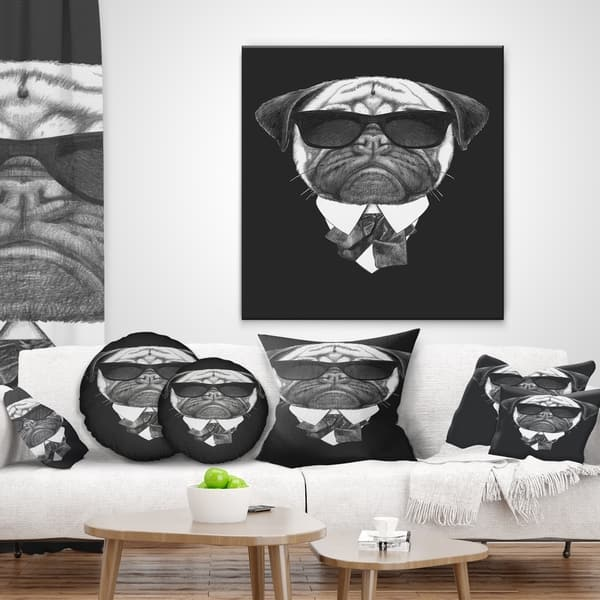 Designart Pug Dog Portrait In Suit Animal Throw Pillow Overstock 20950634