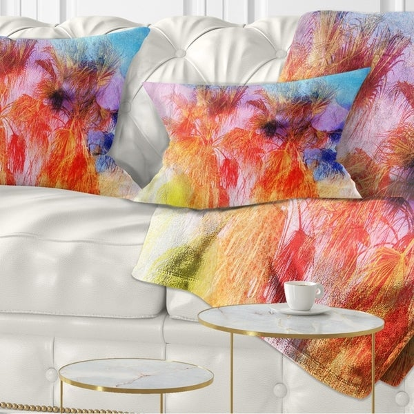 Designart 'Colorful Retro Palm Trees' Landscape Painting Throw Pillow