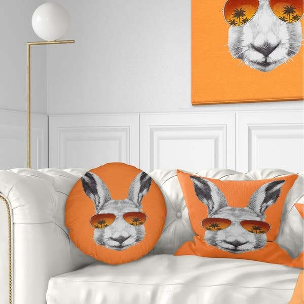 Awe Inspiring Designart Funny Rabbit With Sunglasses Animal Throw Pillow Inzonedesignstudio Interior Chair Design Inzonedesignstudiocom