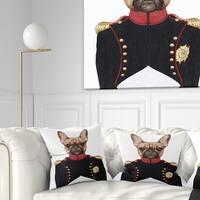 Designart 'French Bulldog in Military Uniform' Animal Throw Pillow