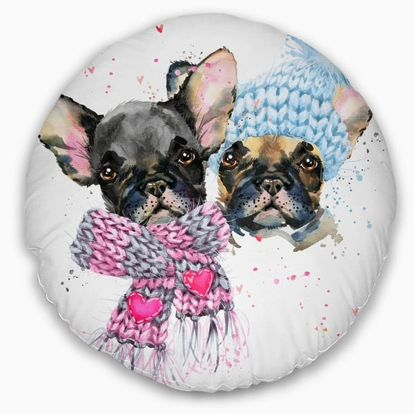 Designart Lovely Puppies With Neck Shawls Contemporary Animal Throw Pillow On Sale Overstock 20950718