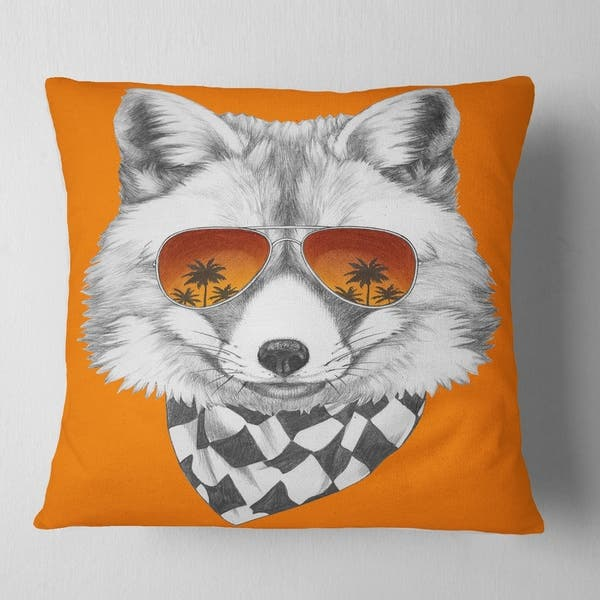 Designart Fox With Mirror And Sunglasses Contemporary Animal Throw Pillow On Sale Overstock 20950726