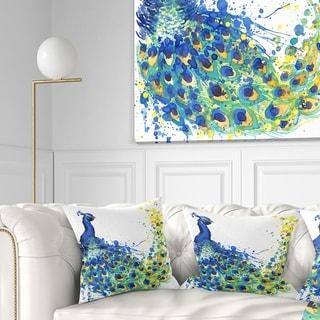 Designart 'Exotic Peacock Watercolor' Contemporary Animal Throw Pillow