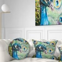 Designart 'Larger Peacock Watercolor' Abstract Throw Pillow