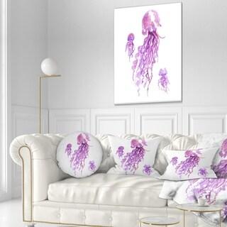 Designart 'Purple Jellyfish Watercolor' Abstract Throw Pillow