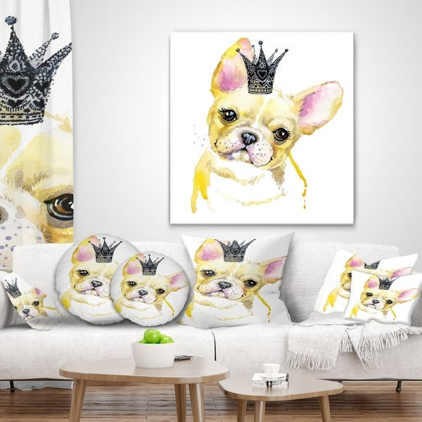 Designart French Bulldog With Black Crown Contemporary Animal Throw Pillow On Sale Overstock 20950743