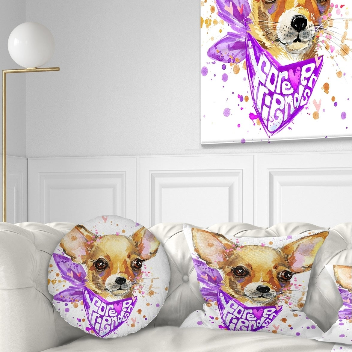 Shop For Designart Cute Puppy Dog With Neck Shawl Contemporary Animal Throw Pillow Get Free Shipping On Everything At Overstock Your Online Home Decor Outlet Store Get 5 In Rewards With Club O 20950746