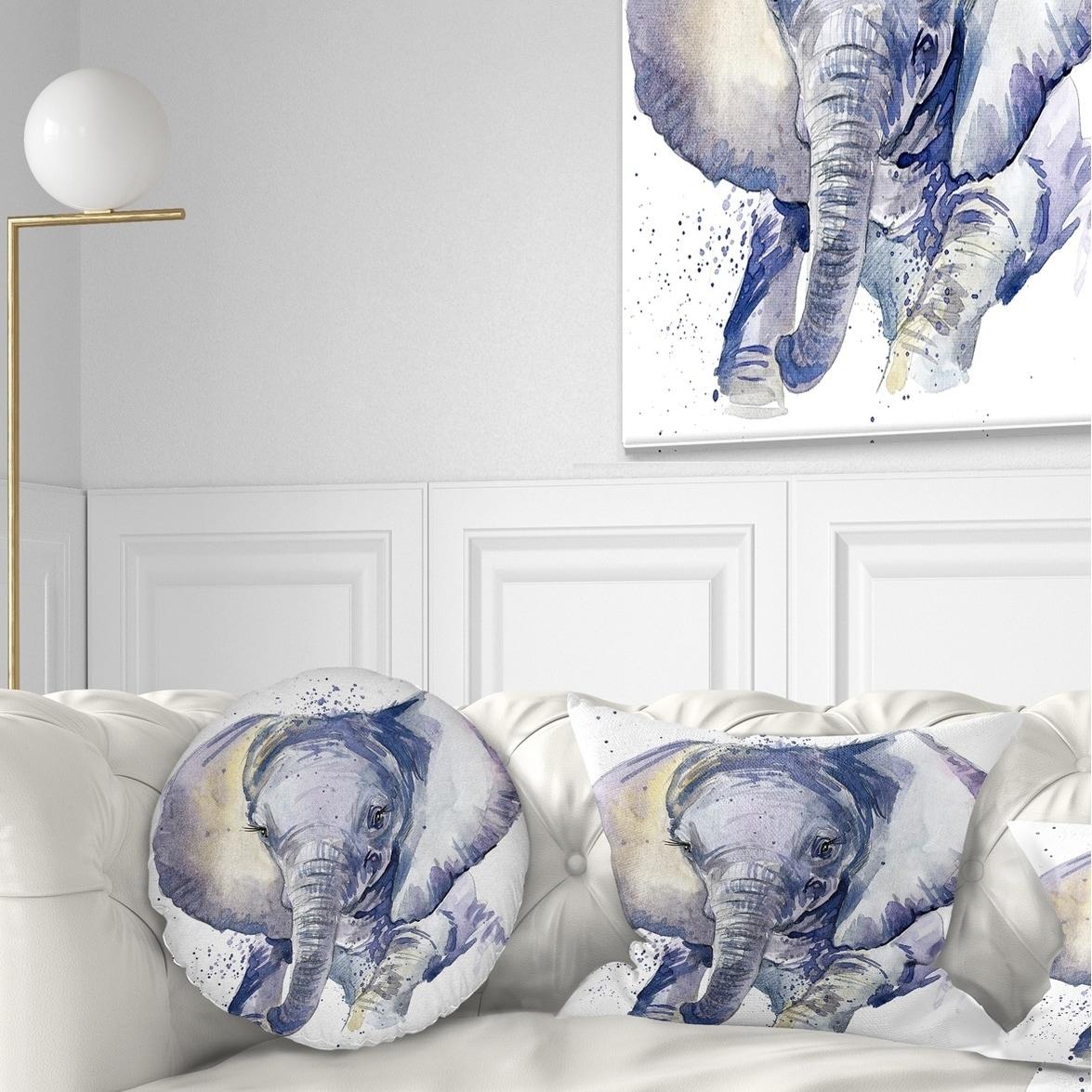 Designart Baby Elephant Blue Watercolor Abstract Throw Pillow Ebay