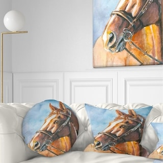 Designart 'Brown Horse with Bridle' Abstract Throw Pillow