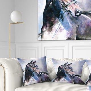 Designart 'Black Horse with Bridle' Abstract Throw Pillow
