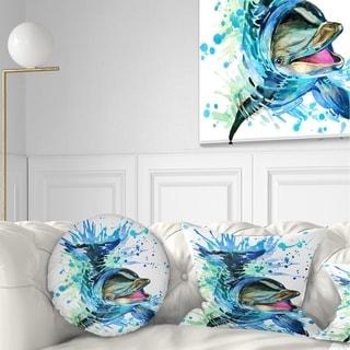 Designart 'Large Blue Dolphin Watercolor' Contemporary Animal Throw Pillow
