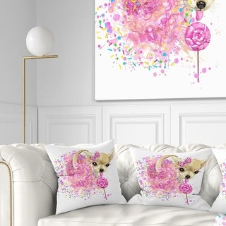 Design Artdesignart Sweet Pink Dog Without Glasses Animal Throw Pillow Square 16 In X 16 In Small Dailymail