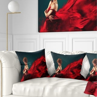Designart 'Woman in Flying Red Dress' Abstract Portrait Throw Pillow