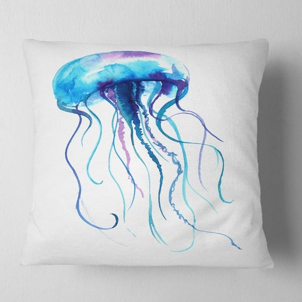 Designart CU13345-18-18 Large Light Blue Jellyfish Animal Cushion Cover for Living Room x 18 in 18 in Sofa Throw Pillow