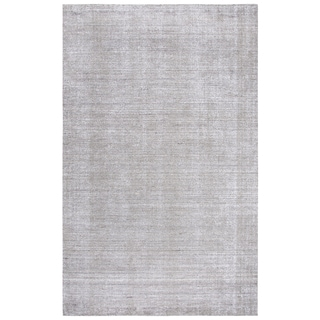 Rizzy Home Grand Haven Grey Wool and Silk Solid Handmade Area Rug - 8' x 10'