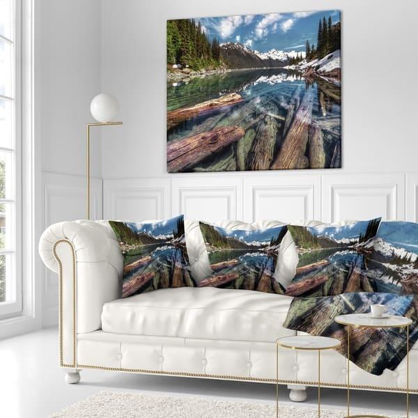 Designart Sunken Logs N Mountain Lake Landscape Printed Throw Pillow On Sale Overstock 20950935