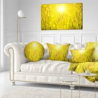 Designart 'Yellow Grass Flower at Sunset' Landscape Printed Throw Pillow