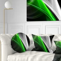 Designart 'Fractal Lines Green White' Abstract Throw Pillow