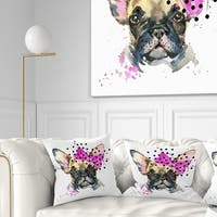 Designart 'Fashionable French Bulldog' Animal Throw Pillow