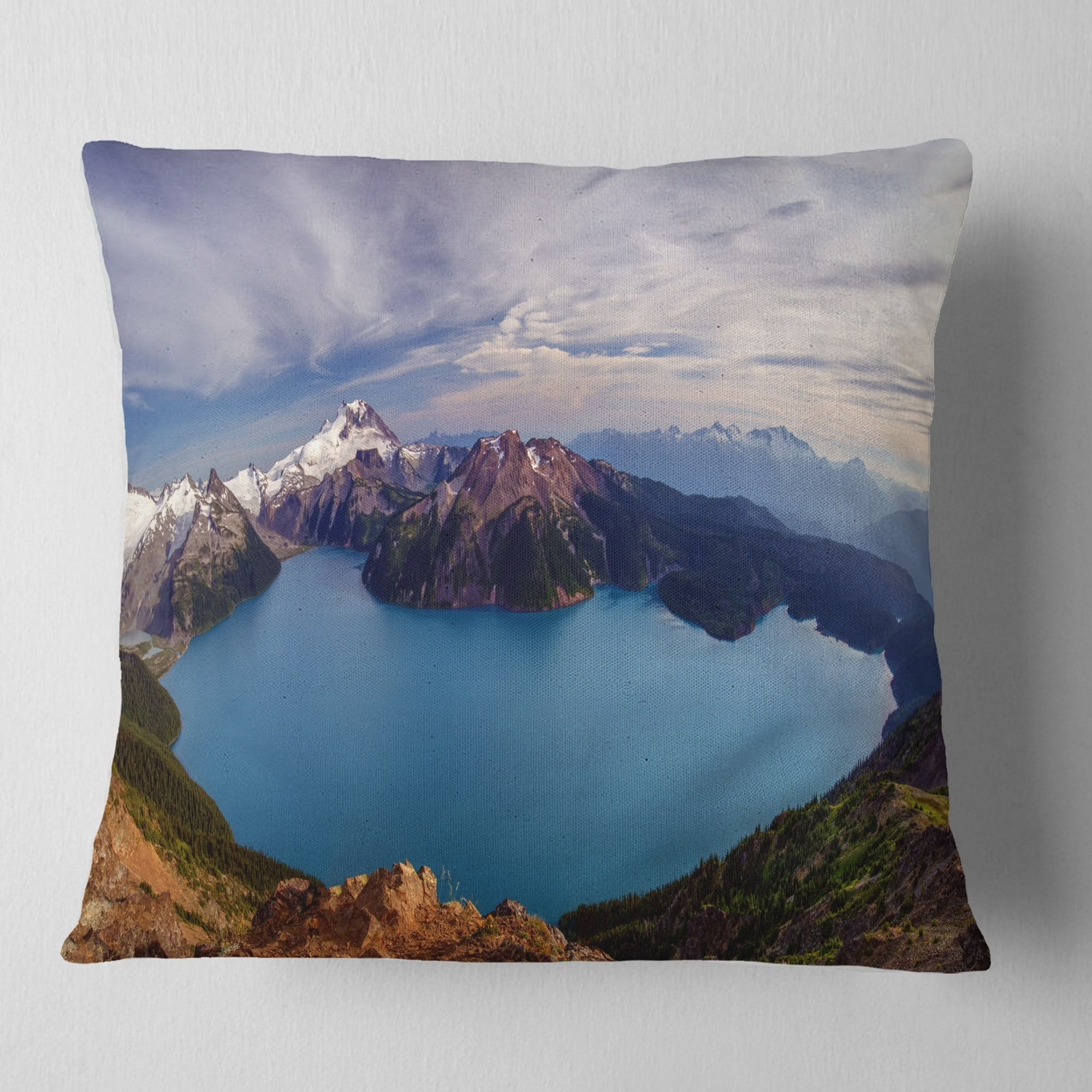 Designart Clear Lake With Bright Sky Landscape Printed Throw Pillow On Sale Overstock 20951005