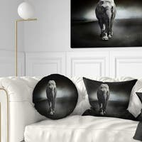 Designart 'Large Elephant on Black' Animal Throw Pillow