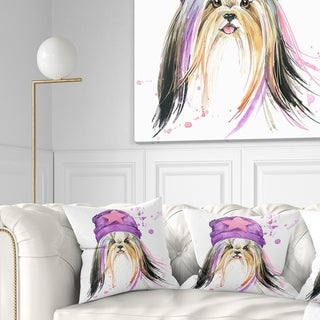 Design Artdesignart Stylish Puppy With Purple Hat Animal Throw Pillow Square 16 In X 16 In Small Dailymail
