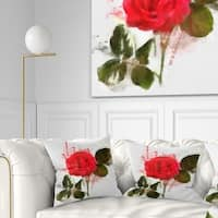 Designart 'Red Rose with Green Petals' Floral Throw Pillow