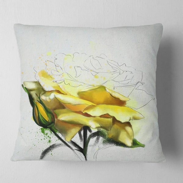 in Sofa Throw Pillow 12 in Insert Printed On Both Side Designart CU13508-12-20 Yellow Rose Illustration Watercolor Floral Lumbar Cushion Cover for Living Room x 20 in
