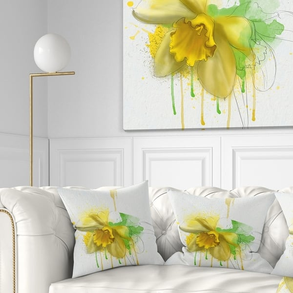 Designart Yellow Narcissus Flower Watercolor Floral Throw Pillow On Sale Overstock 20951104