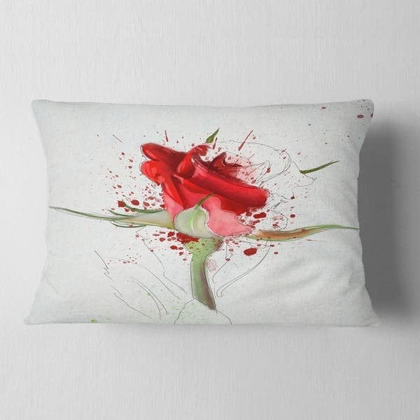 Designart Bright Hand Drawn Red Rose Sketch Floral Throw Pillow Overstock 20951145