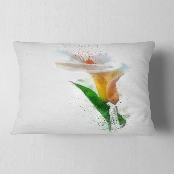 Designart Beautiful Flower With Paint Splashes Floral Throw Pillow On Sale Overstock 20951167