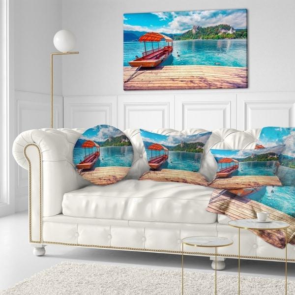 Designart Boat In Lake Bled In Julian Alps Large Landscape Framed Canvas Art Print Overstock 18959433