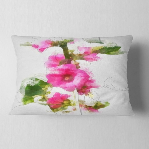 Designart Pink Flower With Stem And Leaves Floral Throw Pillow On Sale Overstock 20951224