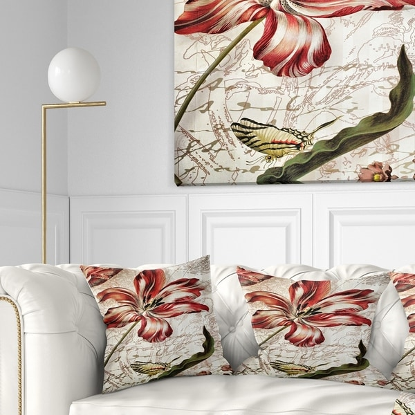 Designart 'Red Floral Pattern with Butterfly' Floral Throw Pillow