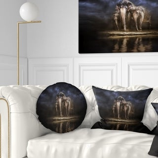 Designart 'Elephants Watering in the River' Animal Throw Pillow