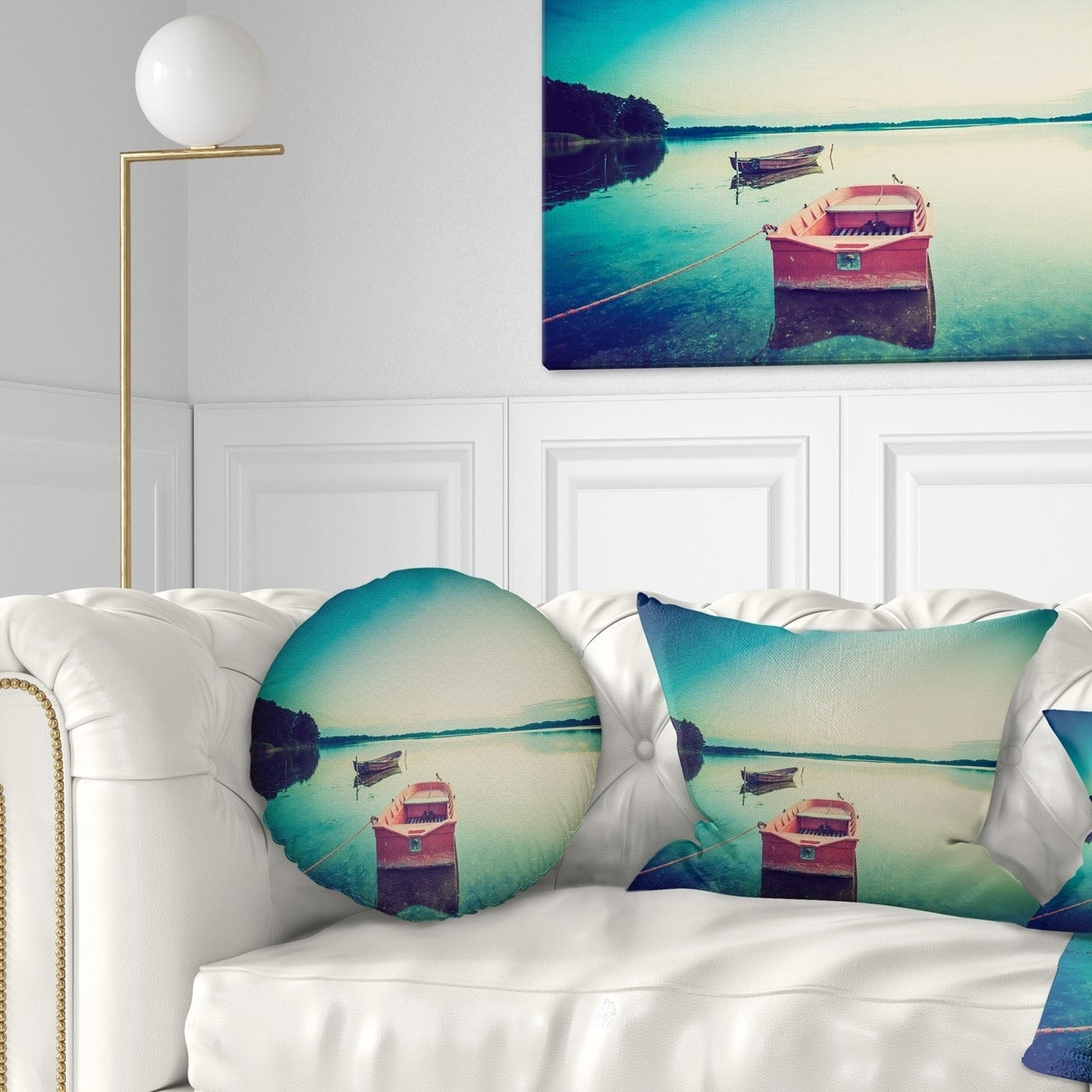 Designart Pink Boat In Vintage Lake Boat Throw Pillow On Sale Overstock 20951343