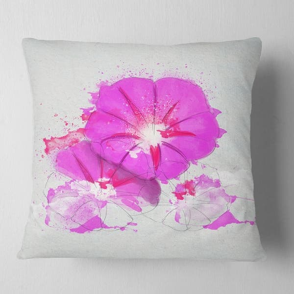 Shop Designart Pink Flowers Sketch With Color Splashes Floral Throw Pillow Free Shipping On Orders Over 45 Overstock 20951407