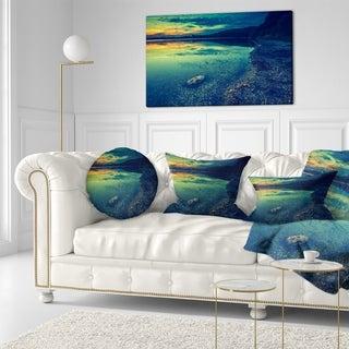 Designart 'Dark Vintage Lake at Sunset' Boat Throw Pillow